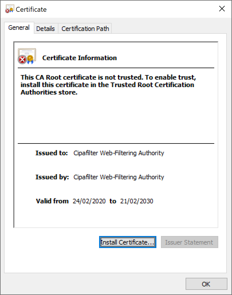 Windows Certificate dialog